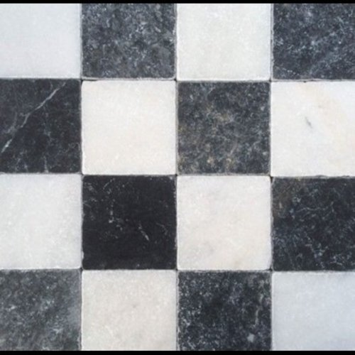 Dambord Vloer Wit Marmer En Turks Hardsteen Anticato 10X10X1, Getrommeld / Verouderd P/M²