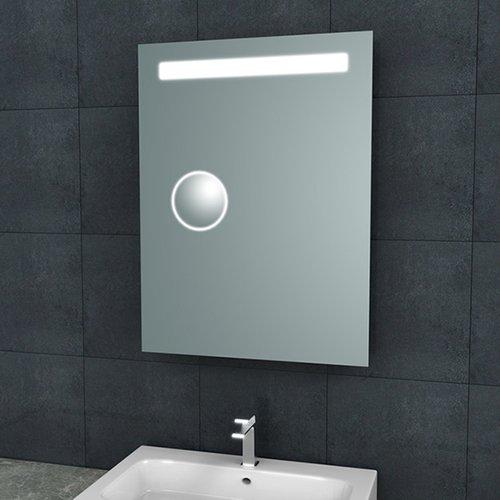 Badkamerspiegel Aqua Splash Mire Rechthoek Inclusief LED Verlichting + Scheerspiegel 60 cm