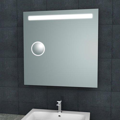 Badkamerspiegel Aqua Splash Mire Rechthoek Inclusief LED Verlichting + Scheerspiegel 80 cm