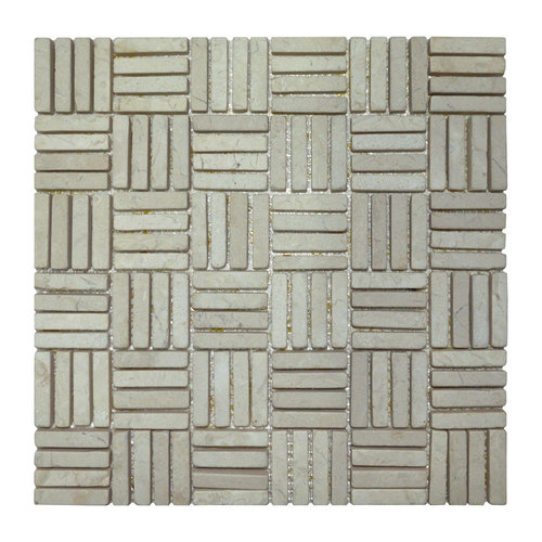 Mozaiek Parquet 1x4.8 30x30 cm Marmer Cream Blokverband (doosinhoud 1 m2)