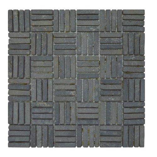 Mozaiek Parquet 1x4.8 30x30 cm Marmer Light Grey Blokverband (doosinhoud 1 m2)