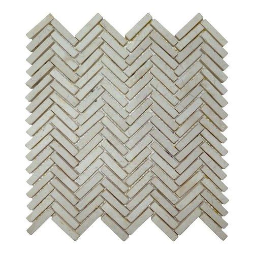 Mozaiek Parquet 1x4.8 30x30 cm Marmer Cream Visgraat (doosinhoud 1 m2)
