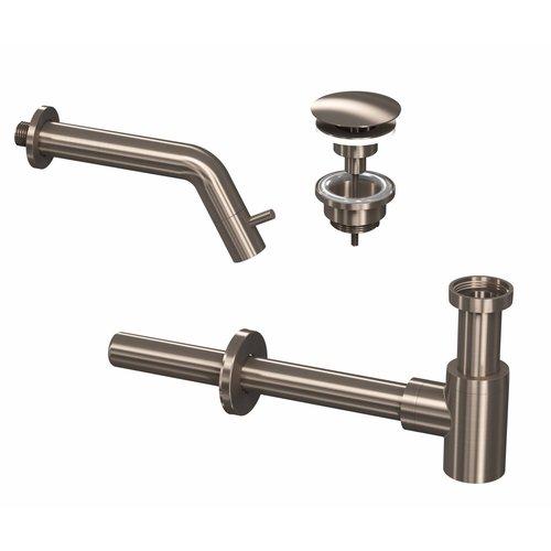 Fonteinkraanset INK Inbouw Inkortbaar Inclusief Waste en Design Sifon Brushed Nickel