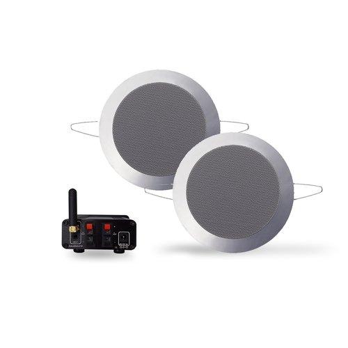 Bluetooth Music Center Aquasound + Twist Speakerset 50 Watt / BT4.0 / AUTO-AUX Mat Chroom