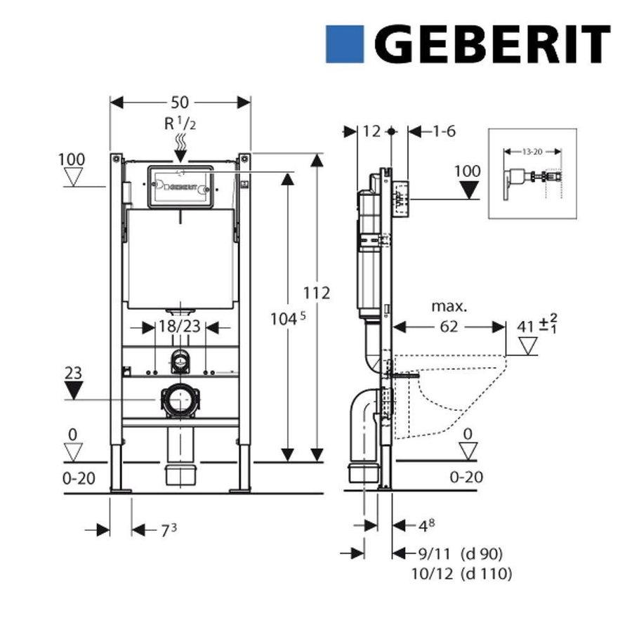 Geberit UP320 Toiletset set69 Geberit ONE Rimless Diepspoel Turboflush Wit met Sigma 20 drukplaat