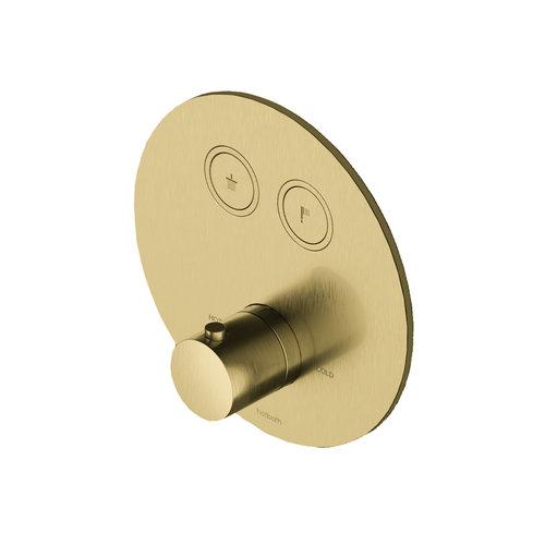 Douchethermostaat Hotbath Cobber Inbouw 2 Pushbuttons Rond Geborsteld Messing PVD (excl. inbouwdeel)