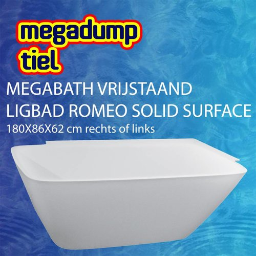 Vrijstaand Ligbad Romeo Solid Surface 180X86X62 Cm Rechts/Links