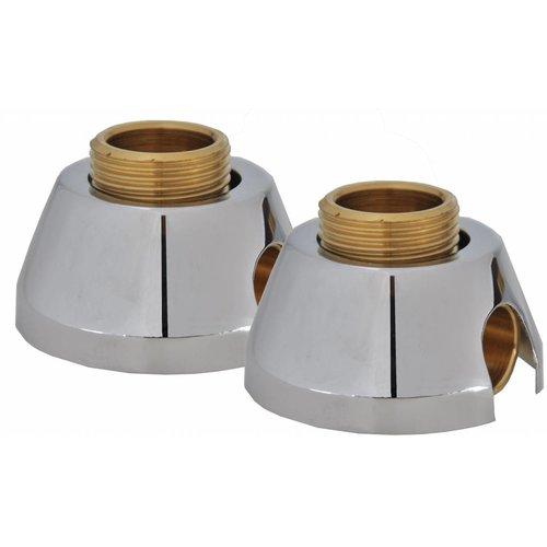 Set Messing Sold.Muurplaatkoppelingen + Rozet 3/4X15