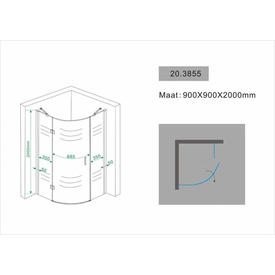 1/4 R.Douchecabine Ls 900X900X2000 Chroom 8Mm Nano