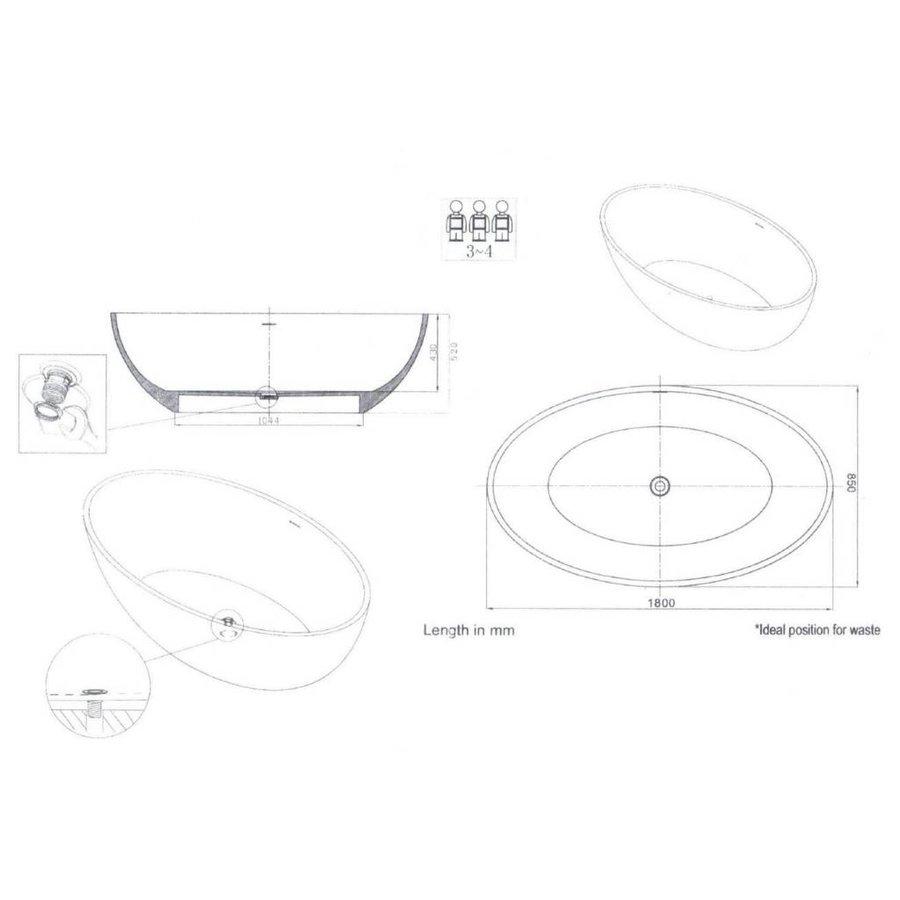 Vrijstaand Bad Solid New-Stone Mat Wit 180X85X52Cm