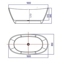 Vrijstaand Bad Orto 180X85X64Cm Solid Surface