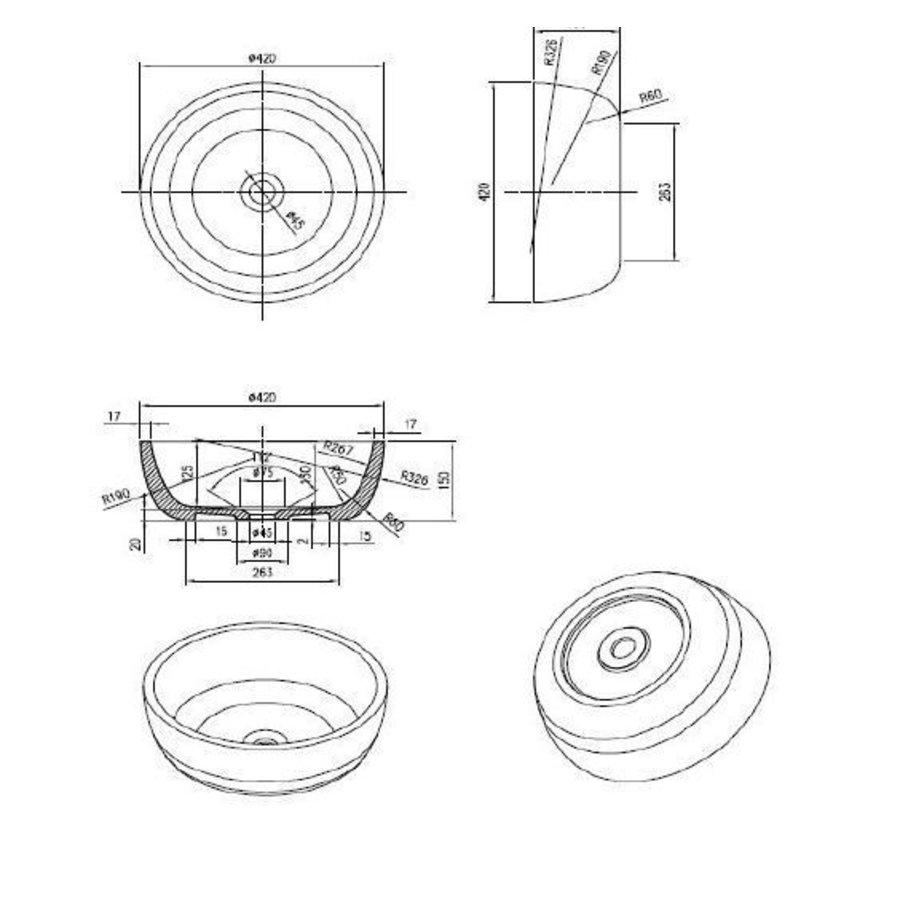 Waskom Astoria Opbouw Mat Wit 42 Cm Solid Surface