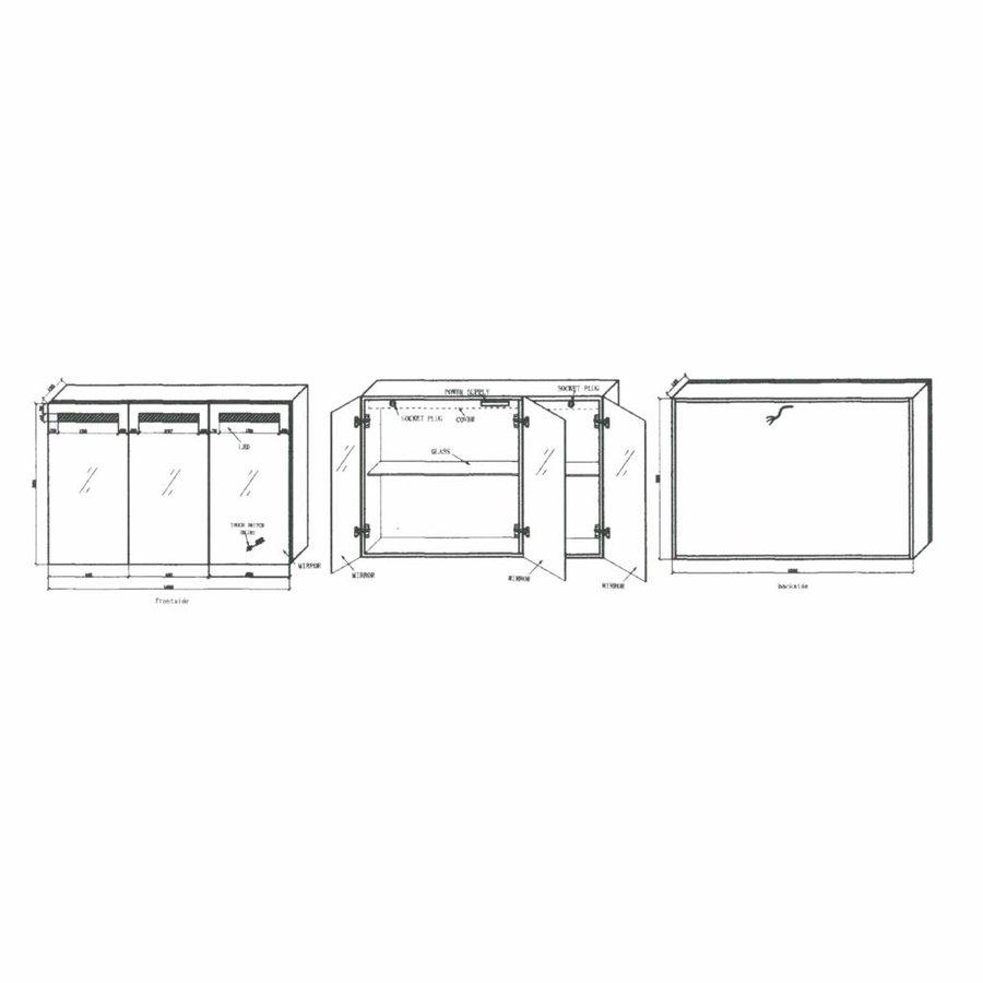 Spiegelkast Aluma Incl. Led Verlichting 120X80Cm