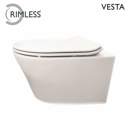 Hangtoilet Vesta Rimless Diepspoel Wit (Incl. Flatline Zitting)