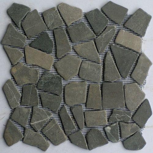 Grey Marmer Scherven Getrommeld Mixed Maten, Getrommeld / Verouderd (Prijs per Matje)