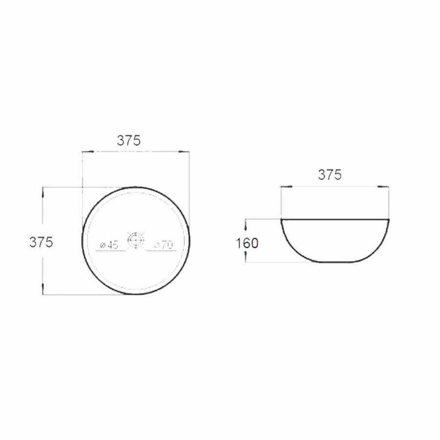 Opbouw Waskom Best Design Ronda Rond 37,5 cm