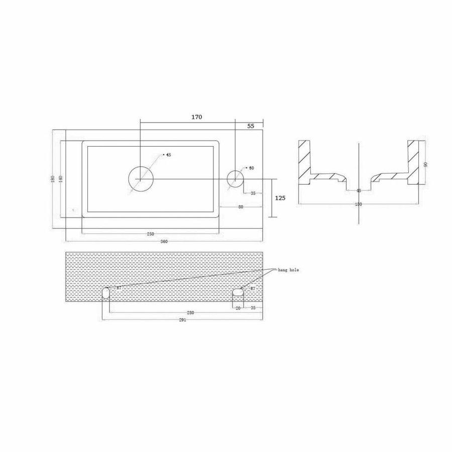 Fonteinset Mini Block One Pack Rechts 36X18Cm