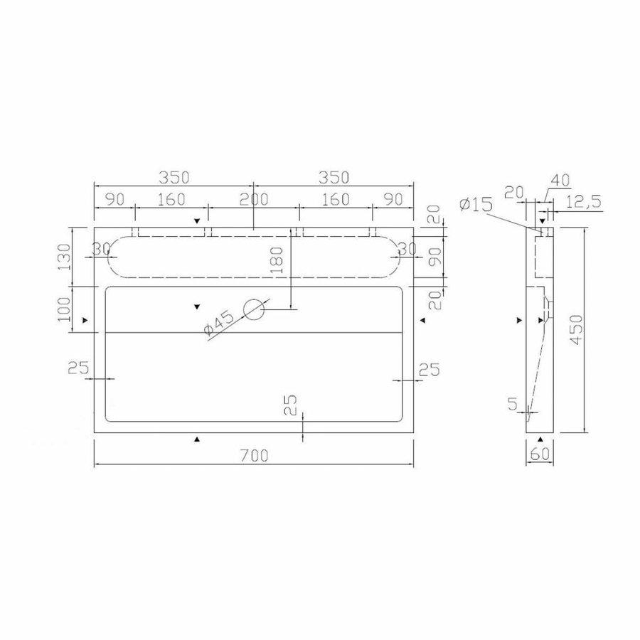 Wastafel Limestone Opbouw 70X45X6 Cm Z/Krgat