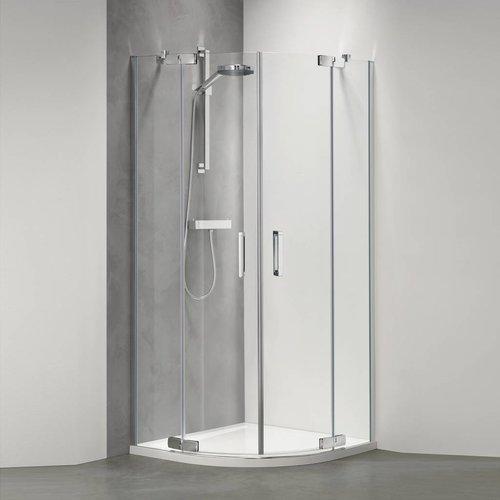 Douchecabine Custom Kwartrond 100X100 Cm Zilver Hoogglans Helder Glas