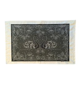 Clover Rua Swans Irish Lace Printed Tea Towel