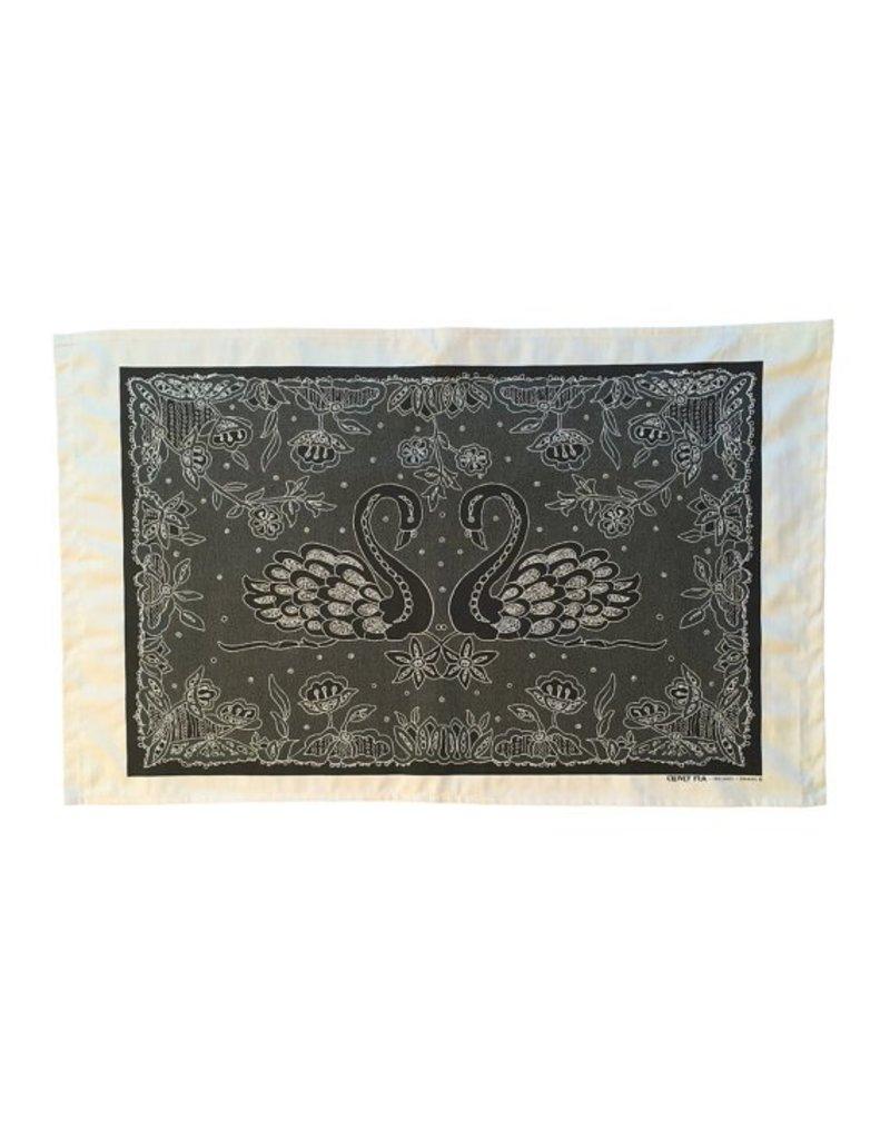 Clover Rua Swans Irish Lace Screen Printed Tea Towel