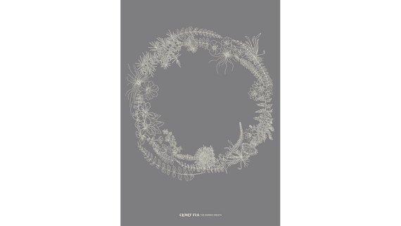 Clover Rua The Burren Wreath  A4 Graphite Print