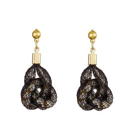 Topaz Gold Black Knot Earrings