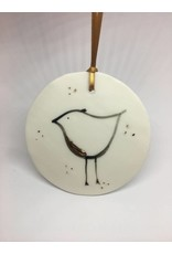Karo Art Porcelain Disc Robin Christmas Decoration