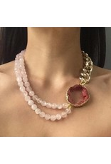 Malika Rose Druze Agate and Quartz Necklace
