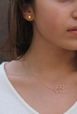 Gold Vermeil Open  2 Star Necklace