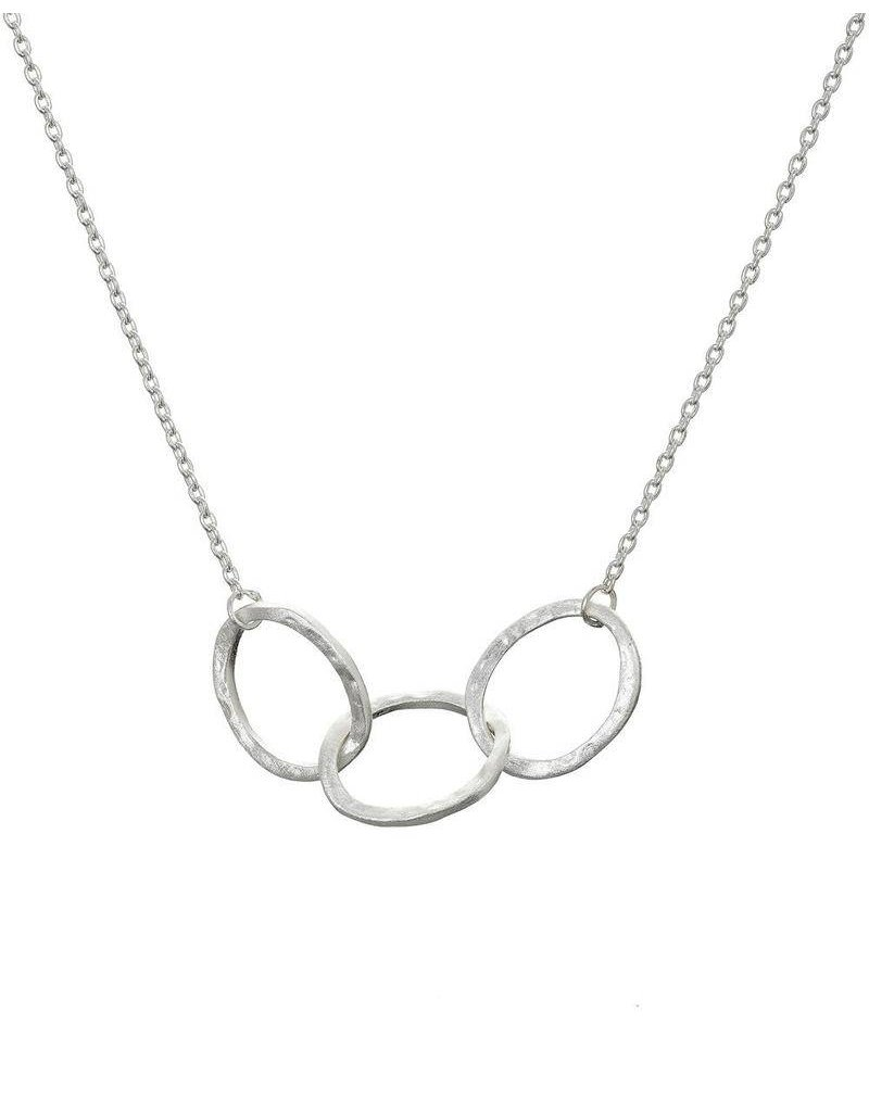 Mary k Jewellery Sterling Silver 3 Textured Oval Link Necklace