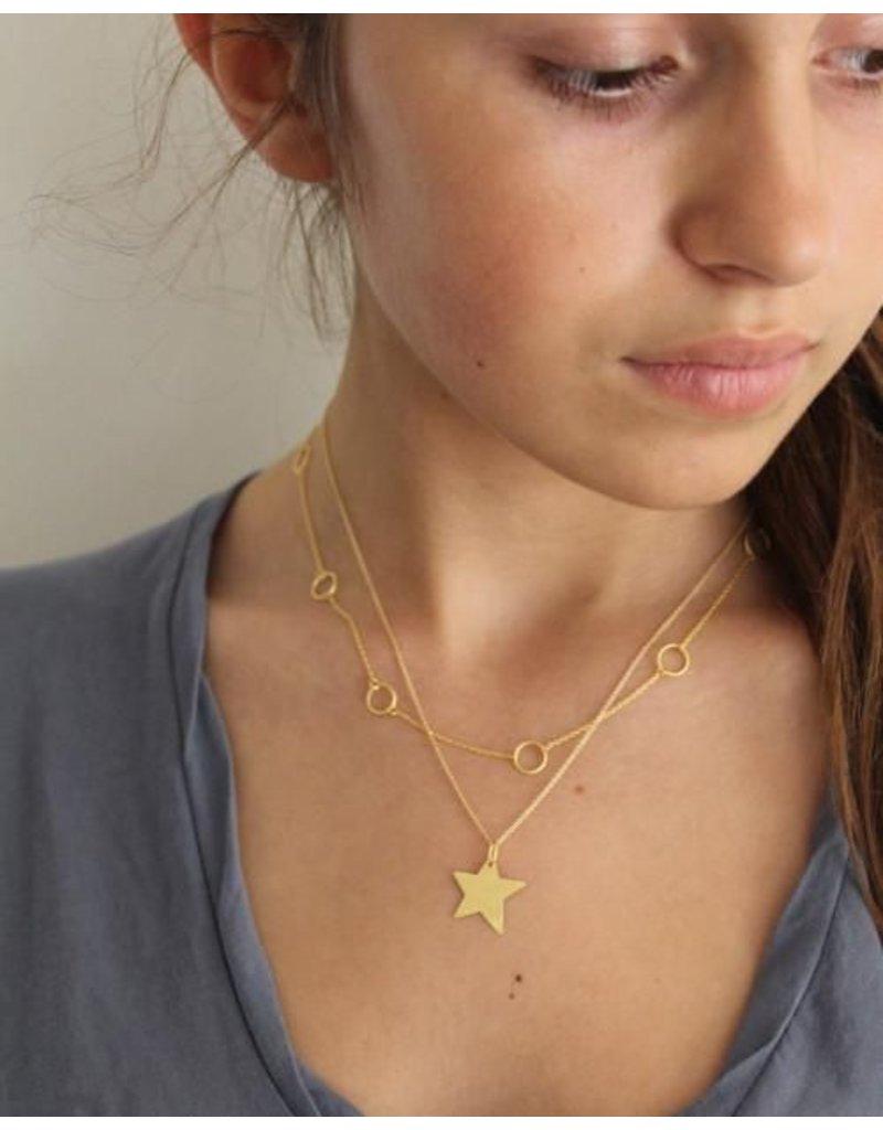 Gold Brushed Vermeil Large Shooting Star Necklace