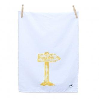 Sealed with Irish Love Signpost to Ireland Tea Towel