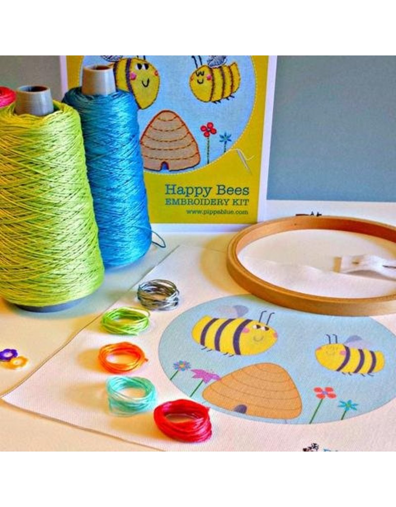 Pippa Blue Happy Bees Embroidery Kit
