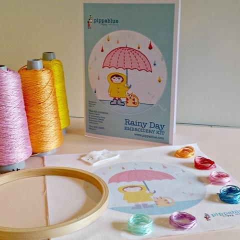 Pippa Blue Rainy Day Embroidery Kit