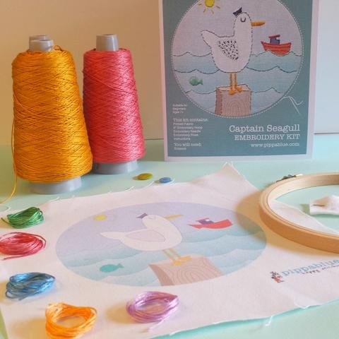 Pippa Blue Captain Seagull Embroidery Kit