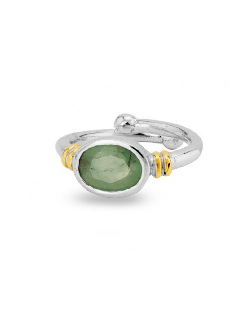 Senna Ring in Rough Emerald with  Siver & Gold