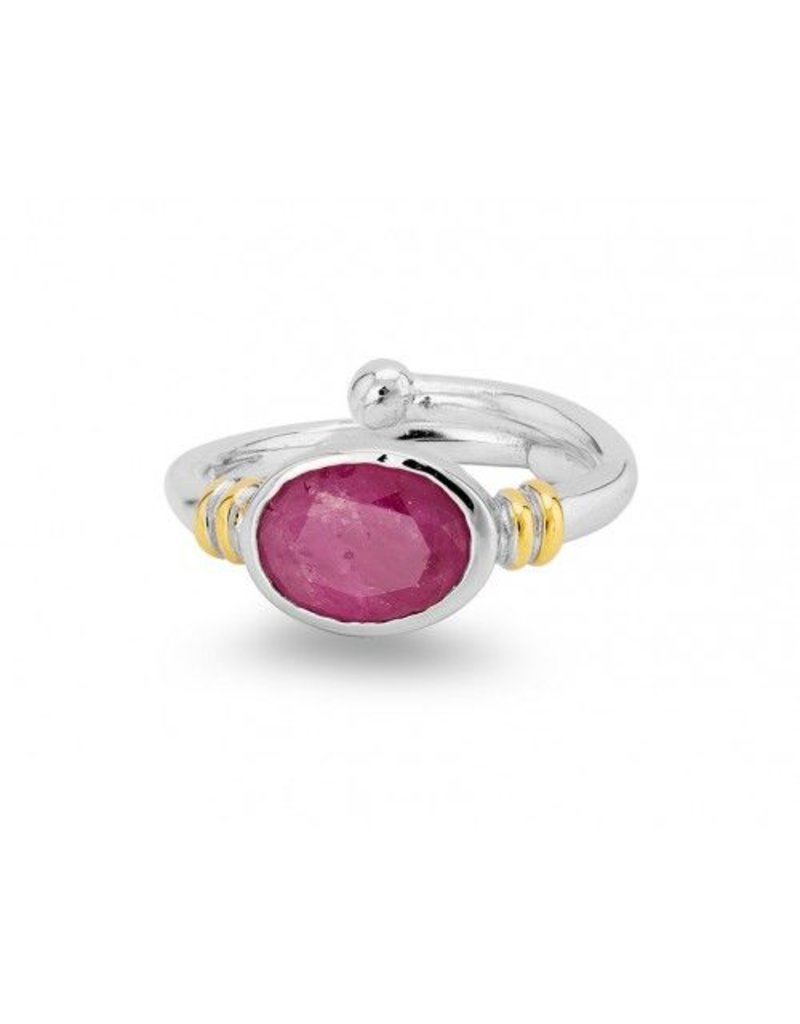 Senna Ring in Rough Ruby with  Silver & Gold