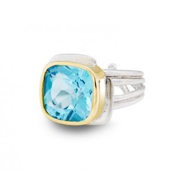 Gallardo and Blaine Art Deco Ring with Blue Topaz