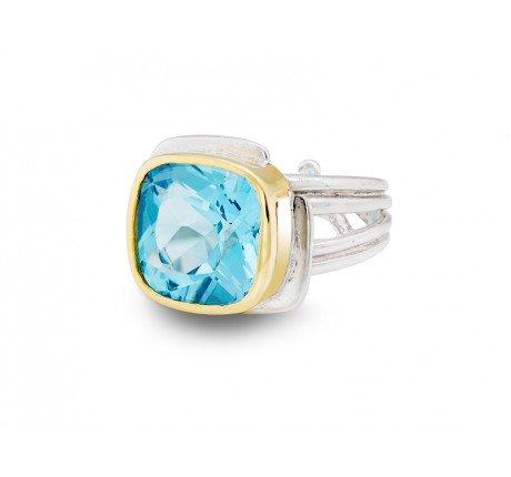 Gallardo and Blaine Art Deco Ring with Blue Topaz