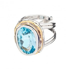 Gallardo and Blaine Magnolia Ring with Blue Topaz