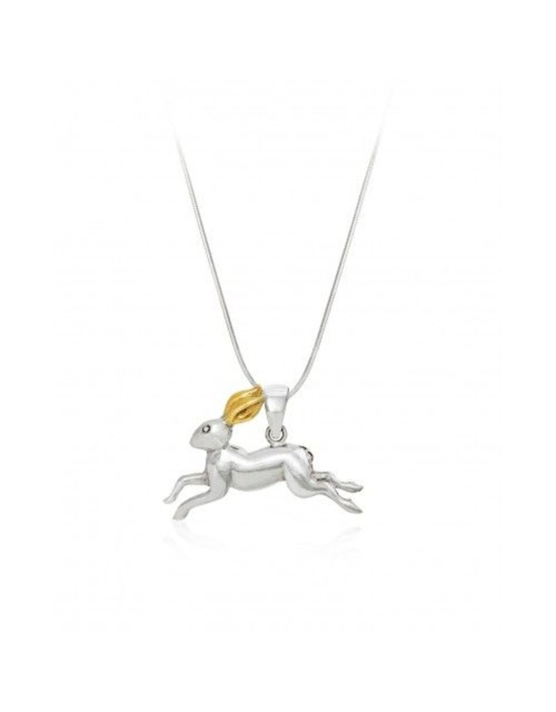 Gallardo and Blaine Irish Hare Pendant with Gold Ears