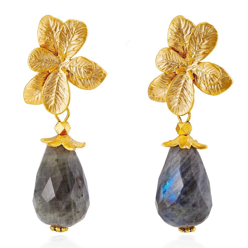 Flora Gold & Faceted Labradorite Earrings