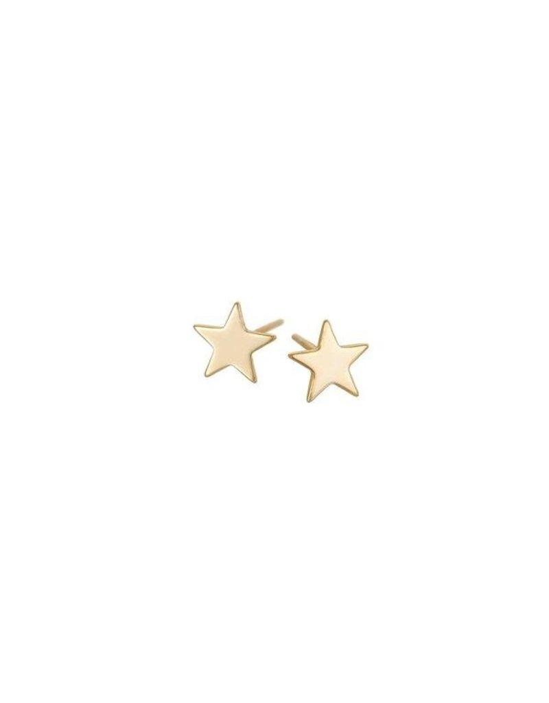 Gold Vermeil Polished Star Stud Earrings