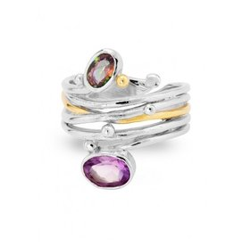 Gallardo and Blaine Snake Ring with Mystic Topaz & Amethyst