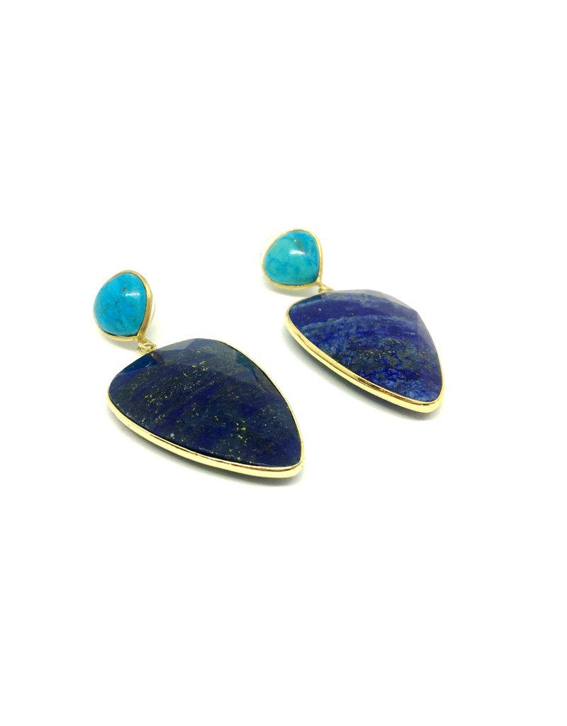 Aria V Abi Turquoise & Lapis Earrings