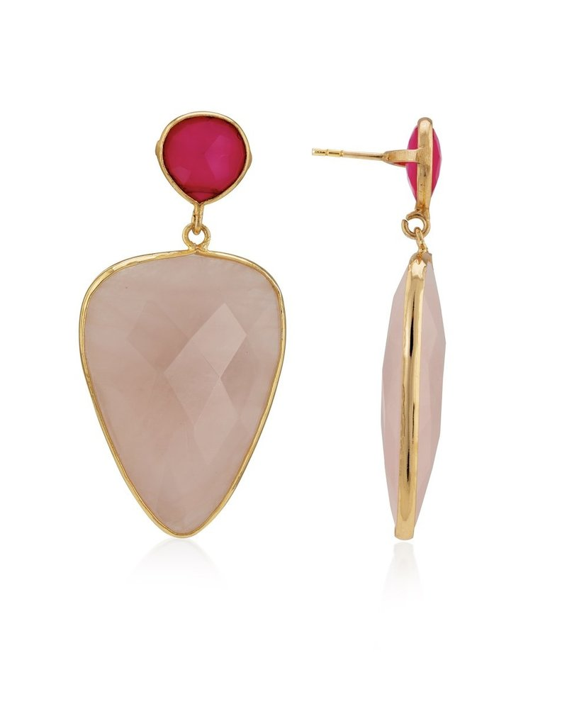 Aria V Ami Rose Quartz and Chalcedony Earrings