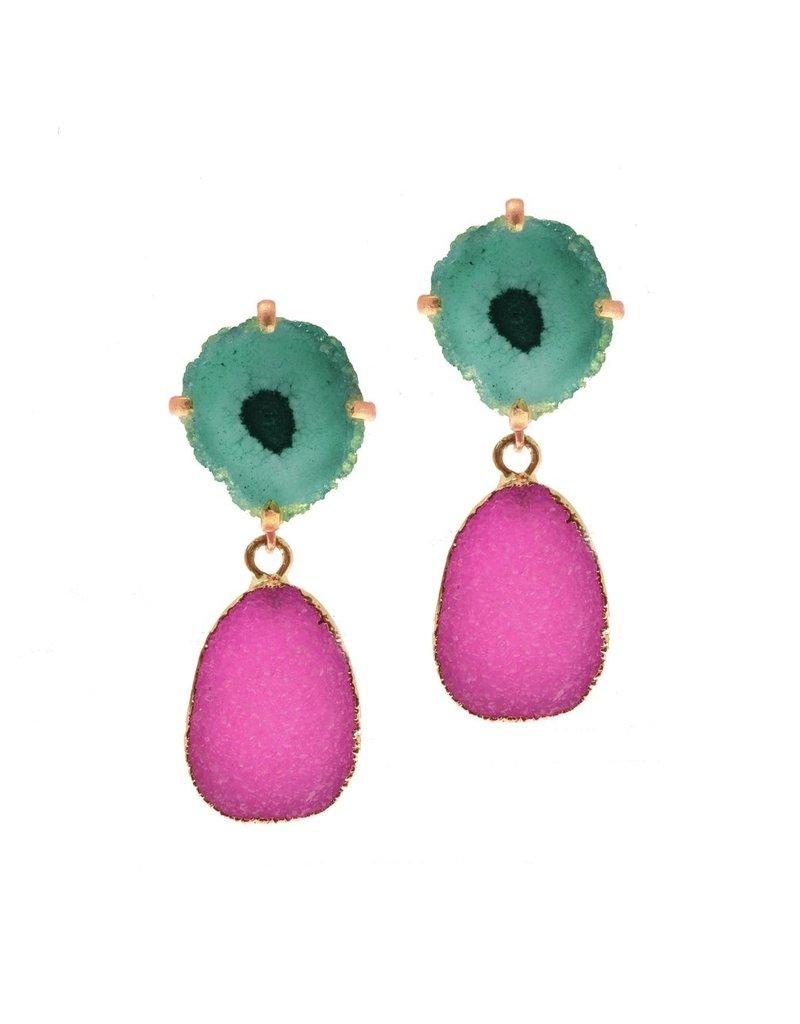 Aria V Lolita Fuchsia Druze & Green Geode Earrings