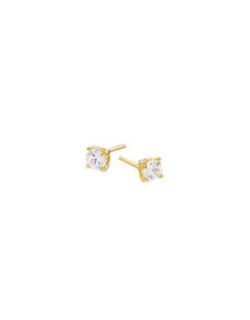 Gold Cubic Zirconia Claw Stud Earrings