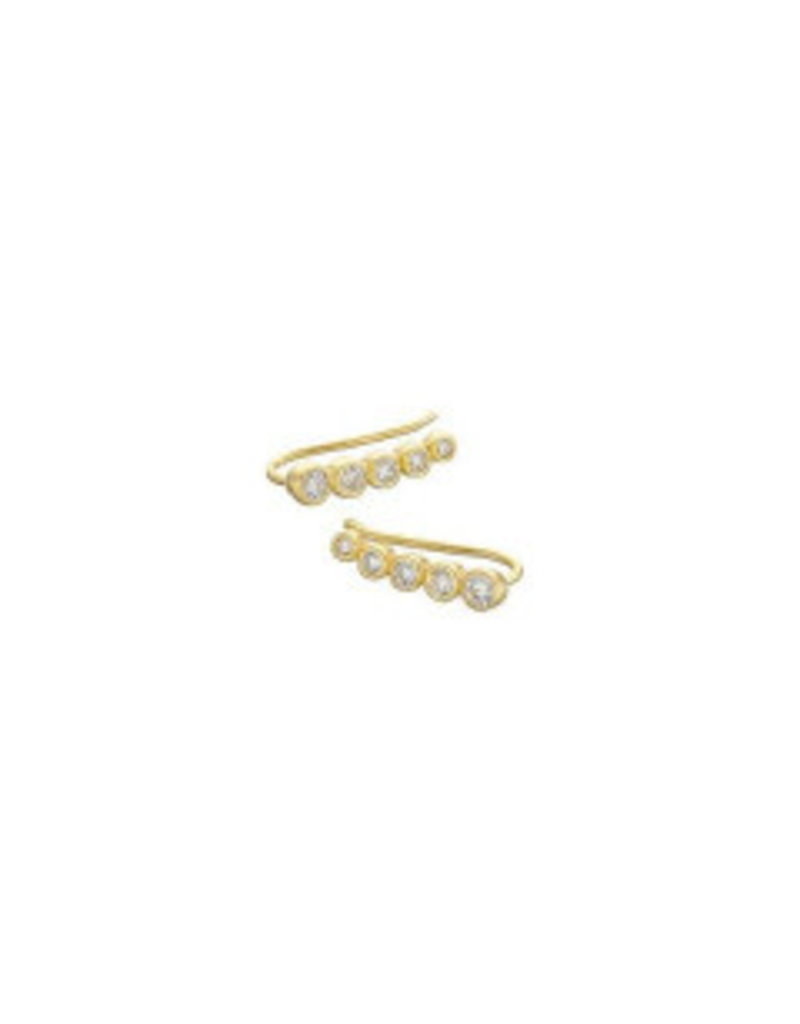 Gold 5 Stone Climber Earrings
